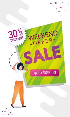 woman and commercial label sale weekend offer lettering vector illustration design Illustration