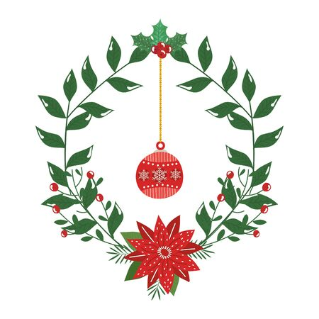 crown decorative christmas with flower and ball hanging vector illustration design 일러스트