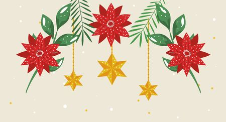 flowers christmas with stars hanging vector illustration design 스톡 콘텐츠 - 134050414