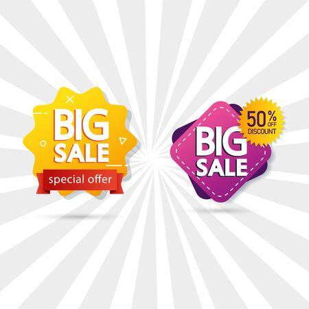 set commercial labels with big sale offer lettering vector illustration design