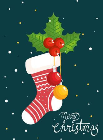 merry christmas poster with sock and decoration vector illustration design 일러스트