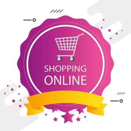 commercial label with shopping online lettering and cart shopping vector illustration design Illustration