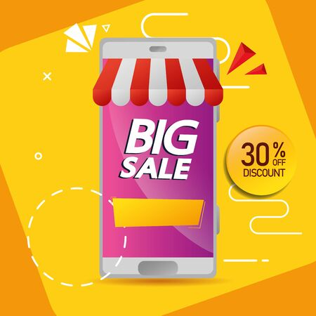 commercial label with big sale offer lettering and thirty percent discount in smartphone vector illustration design