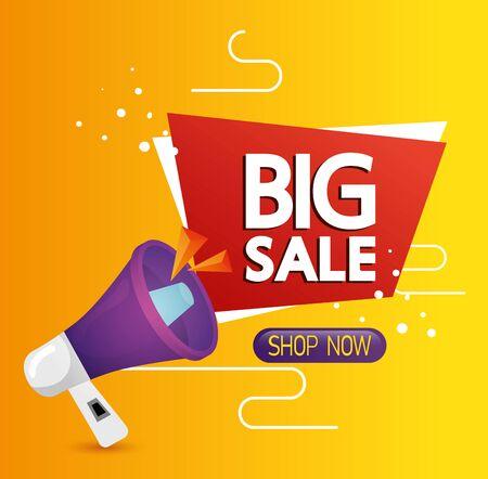 commercial label with big sale offer lettering and megaphone vector illustration design