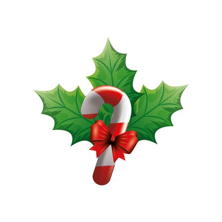 sweet cane christmas with bow ribbon and leafs vector illustration design