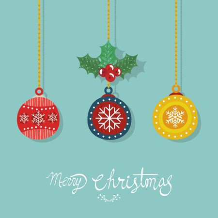 merry christmas poster with decorative balls hanging vector illustration design 일러스트