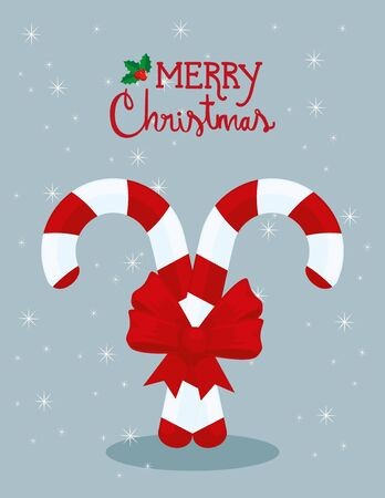 merry christmas poster with canes and bow ribbon vector illustration design