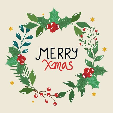 merry christmas poster with crown leafs decorative vector illustration design 일러스트