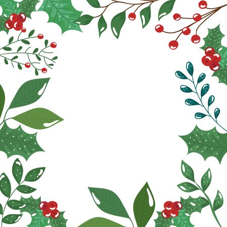 frame of leafs and branches with seeds christmas icons vector illustration design