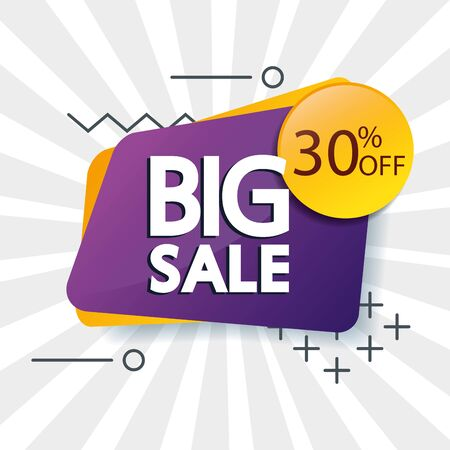 commercial label with big sale offer lettering and thirty percent discount vector illustration design Çizim