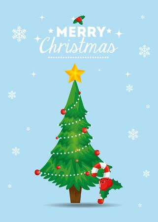 merry christmas poster with pine tree vector illustration design