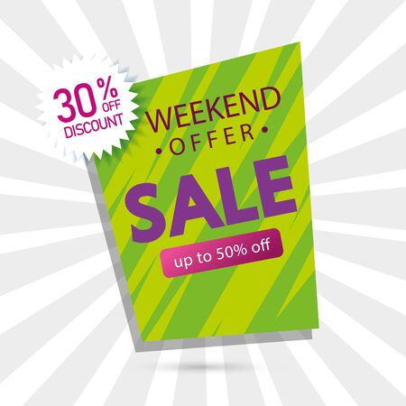 commercial label sale weekend offer lettering with thirty and fifty percentage discount vector illustration design