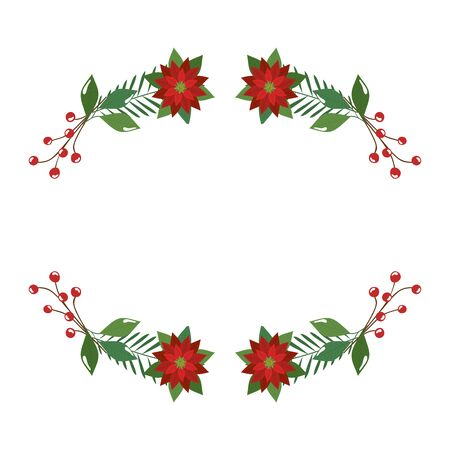 flowers christmas decorative with branches and leafs vector illustration design 일러스트