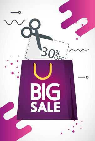 commercial label with big sale offer lettering in bag shopping and thirty percent discount vector illustration design