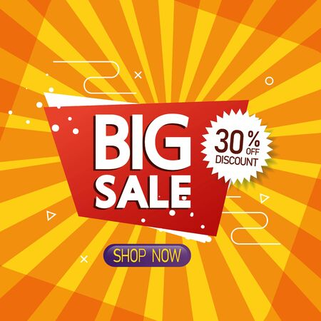 commercial label with big sale offer lettering and thirty percent discount vector illustration design Illustration