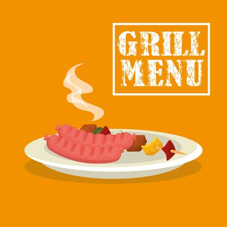 grill menu with sausages and brochette in dish vector illustration design