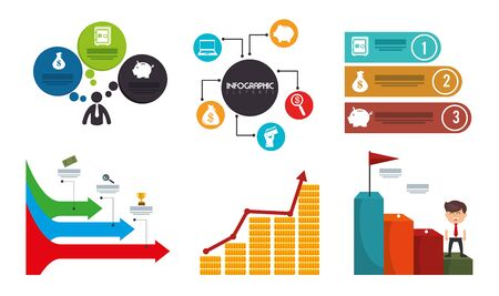 bundle with businessman and set icons vector illustration design Standard-Bild - 134049880