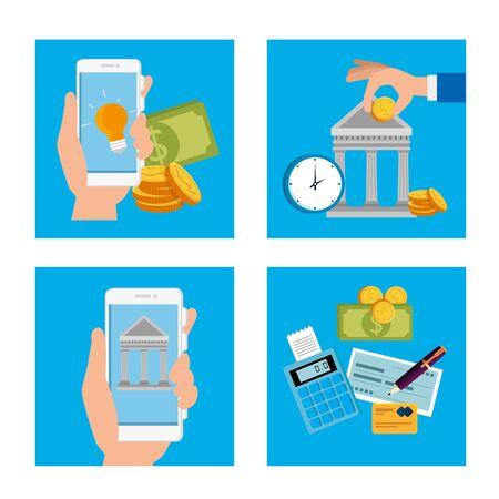 bundle of hands with finance set icons vector illustration design