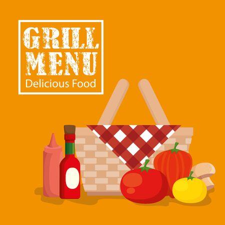 grill menu with basket wicker and vegetables vector illustration design Ilustracja