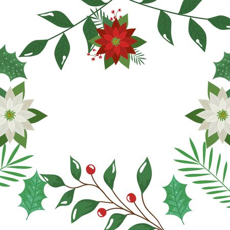 frame of leafs with flowers and seeds decorative vector illustration design
