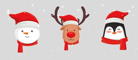 set of faces characters of merry christmas vector illustration design