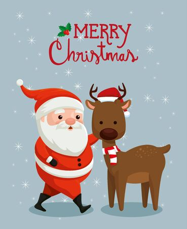 merry christmas poster with santa claus and reindeer vector illustration design 일러스트