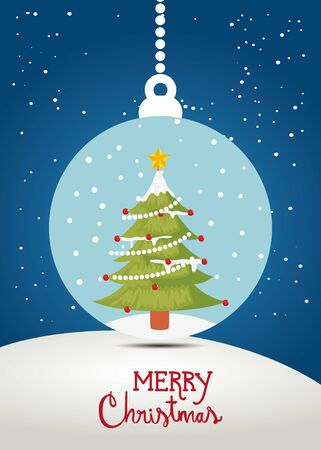 merry christmas poster with pine tree in decorative ball vector illustration design
