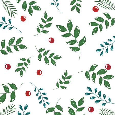 pattern of branches with leafs and seeds vector illustration design
