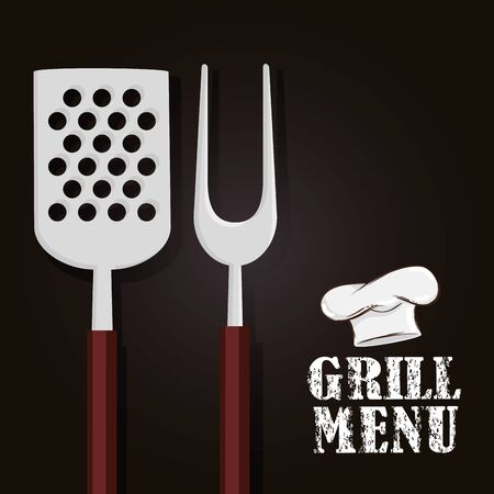 grill menu with cutlery and hat chef vector illustration design Ilustracja