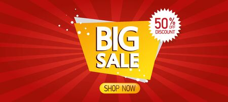 commercial label with big sale lettering and fifty percent discount vector illustration design