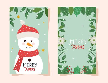 merry christmas poster with snowman and frame of flowers vector illustration design