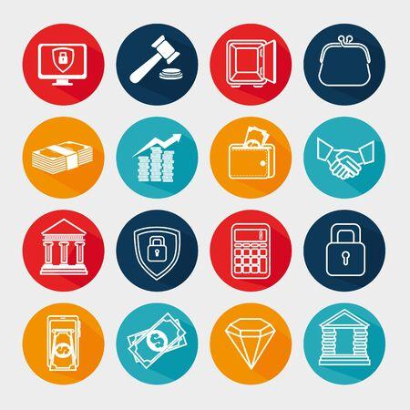 Bündel von Business-Icons-Vektor-Illustration-Design Vektorgrafik