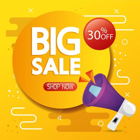 commercial label with big sale lettering and thirty percent discount vector illustration design