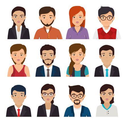 bundel met set van gezicht zakenmensen vector illustratie ontwerp