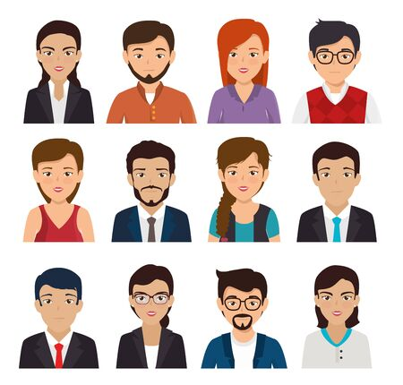 bundle with set of face business people vector illustration design