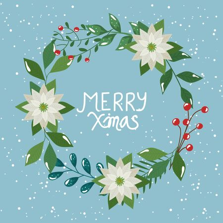 merry christmas poster with crown of leafs and flowers vector illustration design