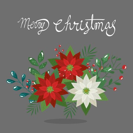 merry christmas poster with flowers decoration vector illustration design