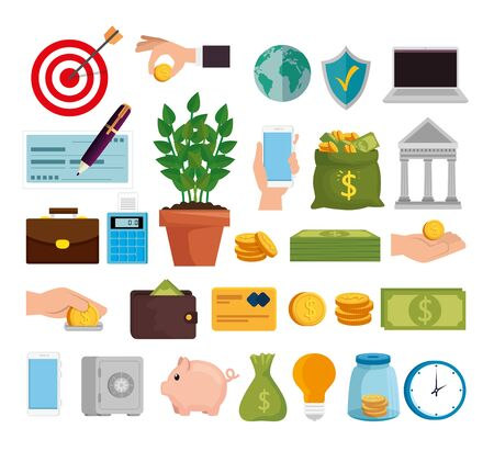 bundle of finance set icons vector illustration design 스톡 콘텐츠 - 134050891