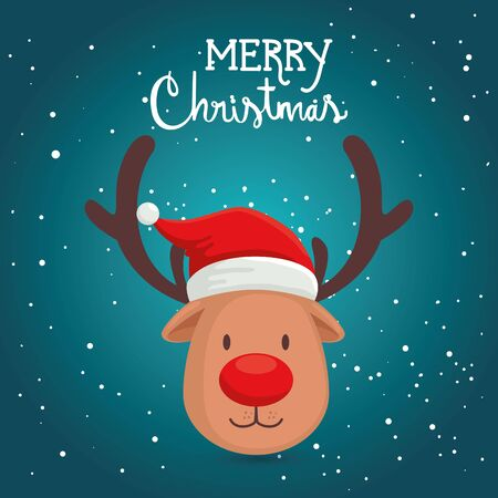 merry christmas poster with face reindeer vector illustration design Ilustracja