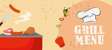 grill menu with delicious food and vegetables vector illustration design Ilustracja