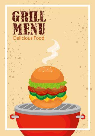 grill menu with delicious hamburger vector illustration design