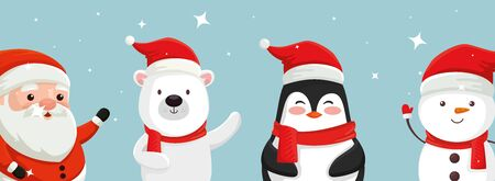 set of characters of merry christmas vector illustration design Ilustracja
