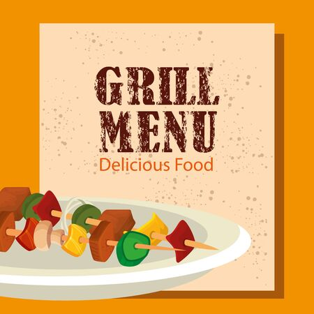 grill menu with delicious brochette in dish vector illustration design