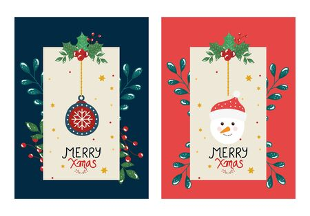 set poster of merry christmas with ball and snowman vector illustration design