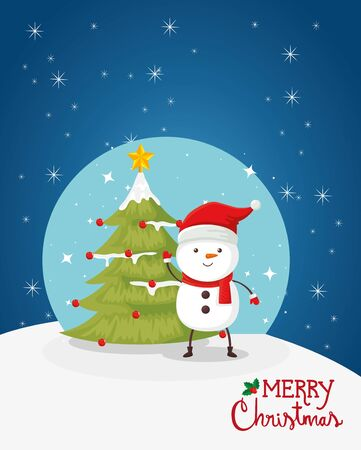 merry christmas poster with snowman and pine tree vector illustration design 向量圖像