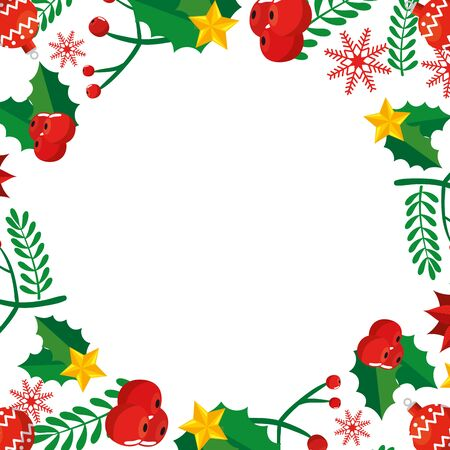 frame christmas with leafs and decoration vector illustration design