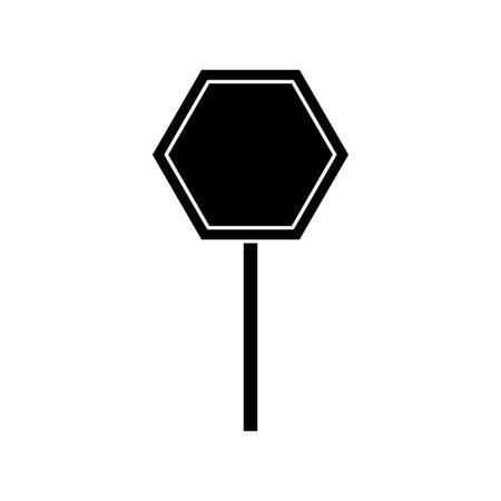 silhouette of stick signage alert isolated icon vector illustration design  イラスト・ベクター素材