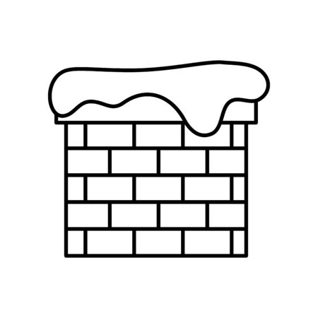chimney with snow line style icon vector illustration design