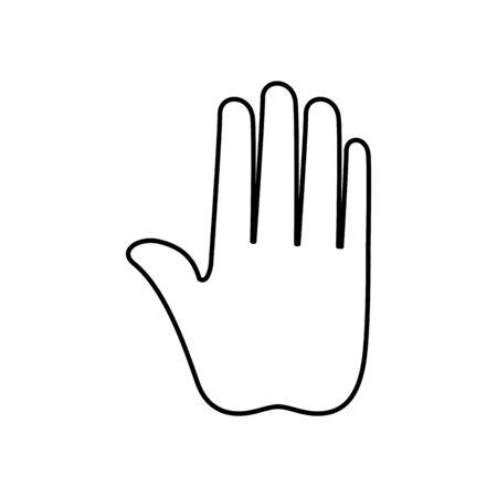 Diseño de ilustración de vector de icono de estilo de línea de parada de mano