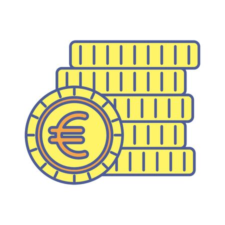 pile money coins euros isolated icons vector illustration design